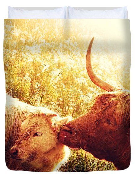 Fenella With Her Daughter. Highland Cows. Scotland Duvet Cover