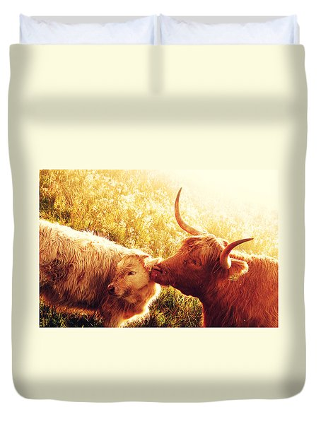 Fenella With Her Daughter. Highland Cows. Scotland Duvet Cover by Jenny Rainbow