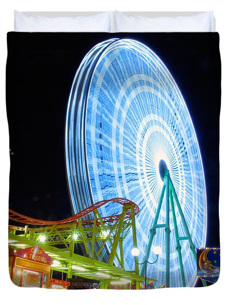 Ferris Wheel At Night Duvet Cover by Stelios Kleanthous