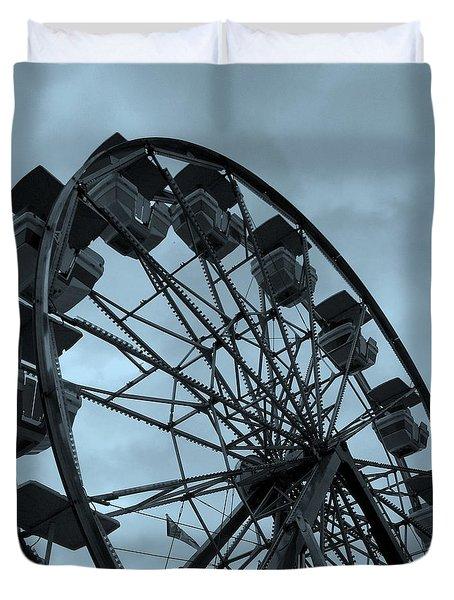 Ferris Wheel Blue Sky Duvet Cover by Ramona Johnston