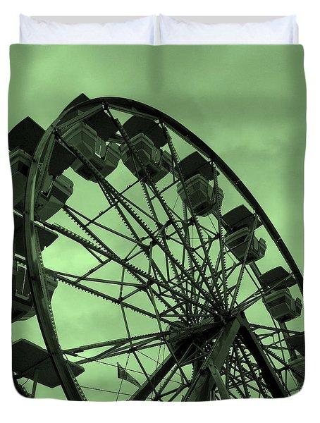 Ferris Wheel Green Sky Duvet Cover by Ramona Johnston
