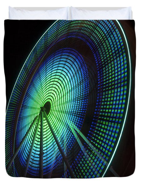 Ferris Wheel Lit Shades Of Green And Blue Duvet Cover