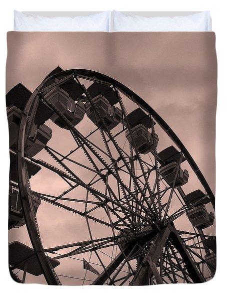 Ferris Wheel Pink Sky Duvet Cover by Ramona Johnston