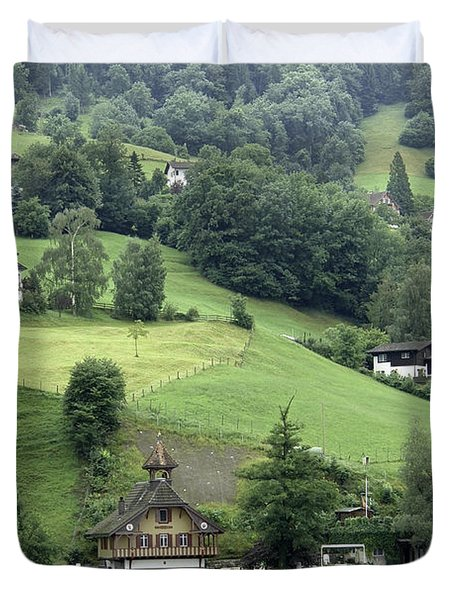 Few Houses On The Slope Of Mountain Next To Lake Lucerne Duvet Cover by Ashish Agarwal