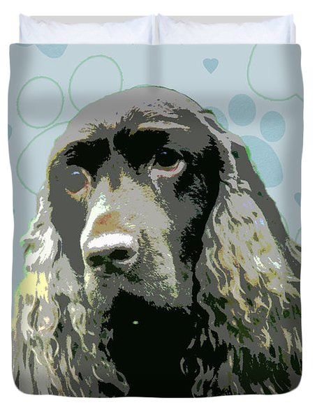 Field Spaniel Duvet Cover by One Rude Dawg Orcutt