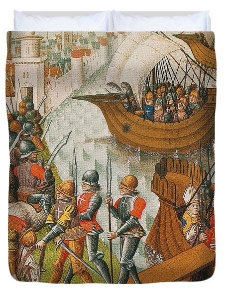 Fifth Crusade Siege Of Damietta 1218 Duvet Cover by Photo Researchers