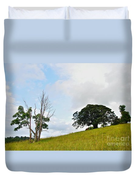 Fig Tree On A Hill Duvet Cover by Kaye Menner