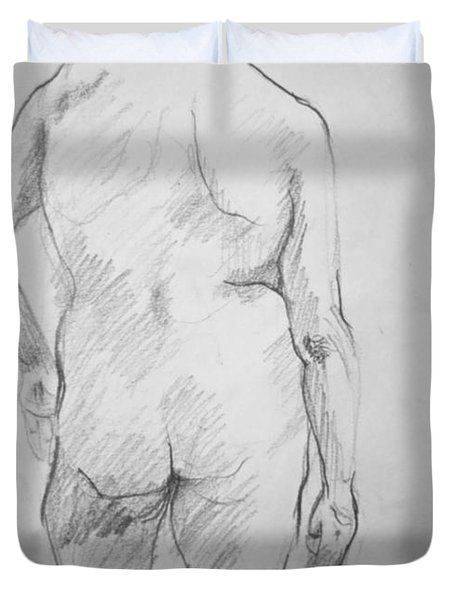 Duvet Cover featuring the drawing Figure Study by Rory Sagner