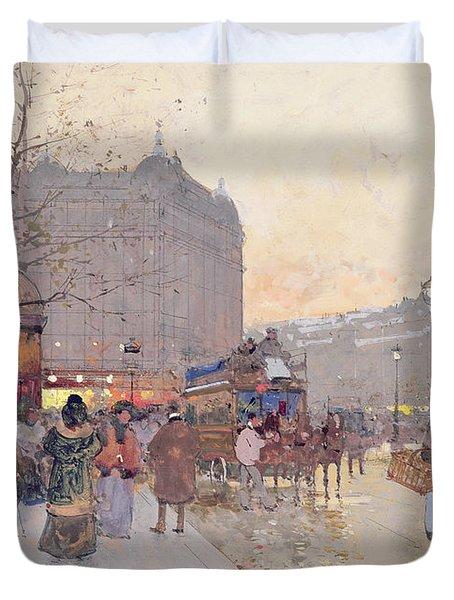 Figures In The Place De La Bastille Duvet Cover by Eugene Galien-Laloue