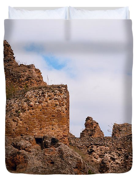 Duvet Cover featuring the photograph Filakovo Hrad - Castle by Les Palenik