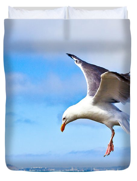 Final Approach - San Francisco Duvet Cover