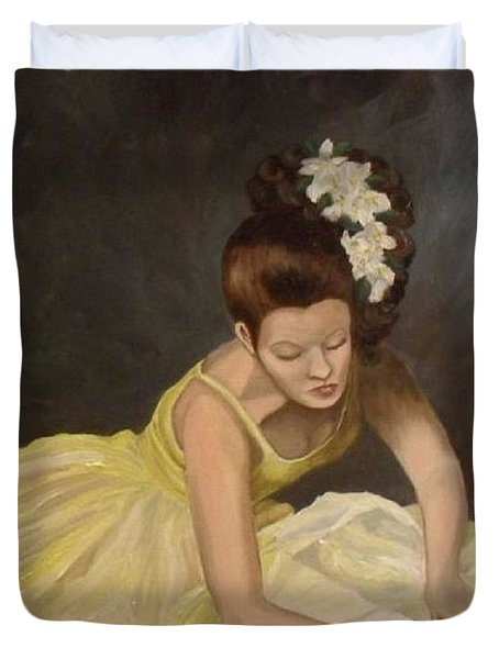 Duvet Cover featuring the painting Final Preparations by Julie Brugh Riffey
