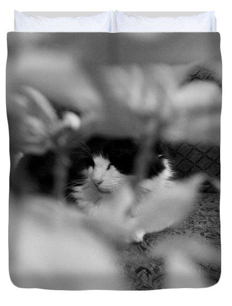 Duvet Cover featuring the photograph Find The Kitty by Jeanette C Landstrom