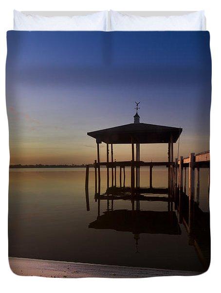 Fire Lake Duvet Cover by Debra and Dave Vanderlaan