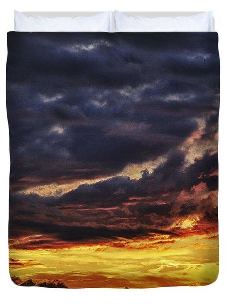 Fire Lake Duvet Cover by Skip Nall