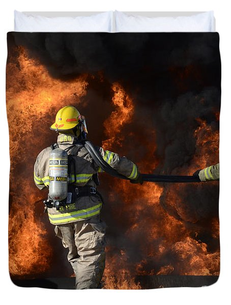 Firefighters In Action 3 Duvet Cover by Bob Christopher