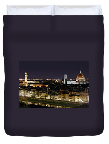 Firenze Skyline At Night - Duomo And Surroundings Duvet Cover