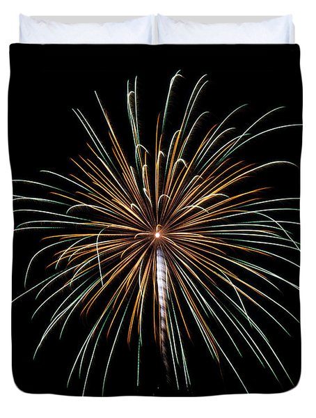 Duvet Cover featuring the photograph Fireworks 10 by Mark Dodd
