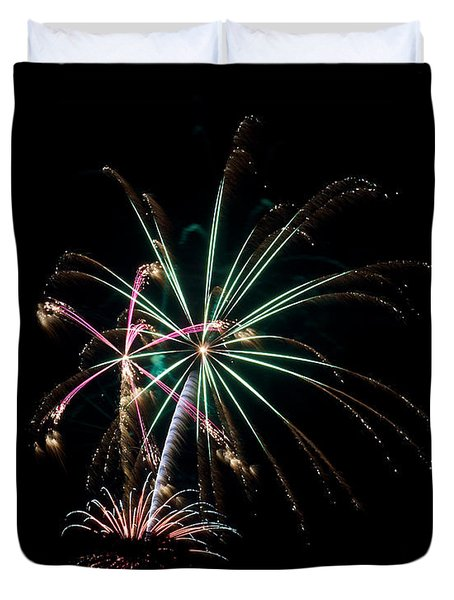 Duvet Cover featuring the photograph Fireworks 11 by Mark Dodd