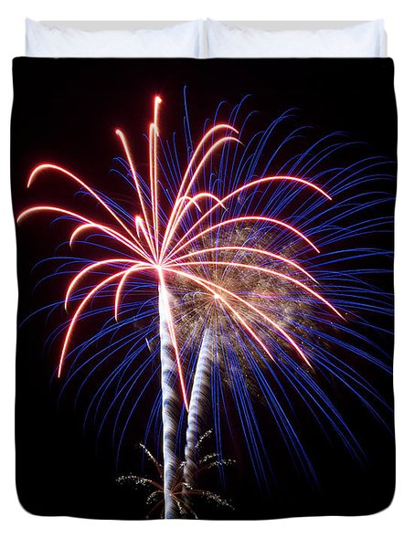 Duvet Cover featuring the photograph Fireworks 12 by Mark Dodd