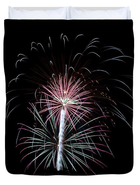 Duvet Cover featuring the photograph Fireworks 13 by Mark Dodd