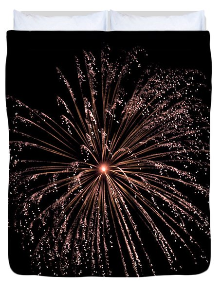 Duvet Cover featuring the photograph Fireworks 3 by Mark Dodd
