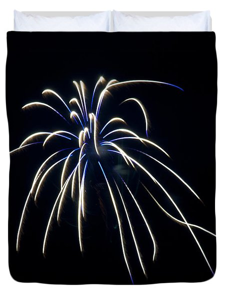 Duvet Cover featuring the photograph Fireworks 4 by Mark Dodd