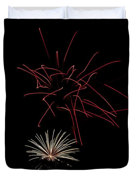 Duvet Cover featuring the photograph Fireworks 6 by Mark Dodd