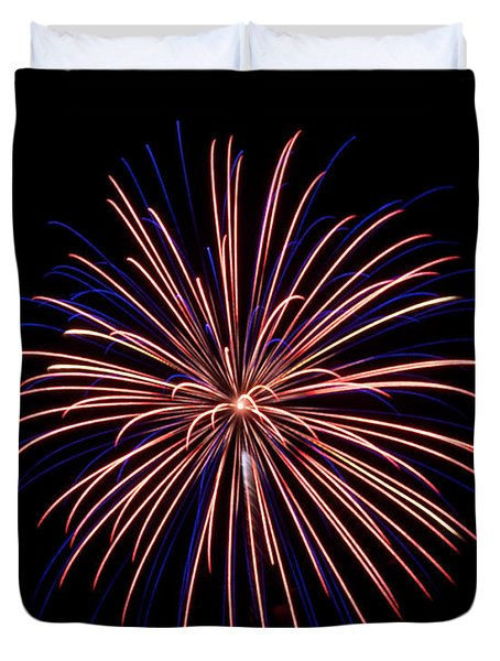 Duvet Cover featuring the photograph Fireworks 7 by Mark Dodd