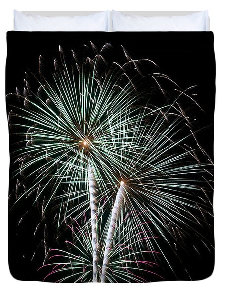 Duvet Cover featuring the photograph Fireworks 8 by Mark Dodd