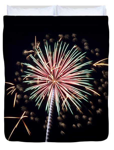 Duvet Cover featuring the photograph Fireworks 9 by Mark Dodd