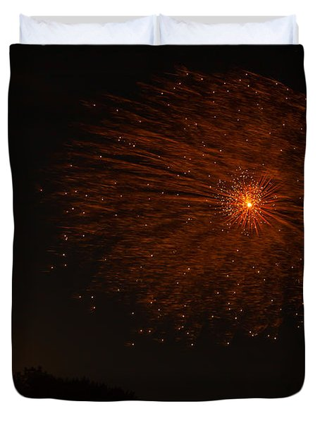 Duvet Cover featuring the photograph Fireworks And Wildfire Moon by Tom Gort