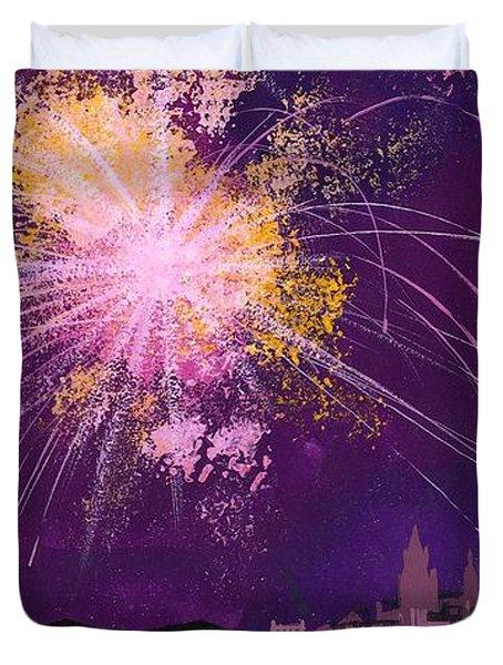 Fireworks In Malta Duvet Cover by Angss McBride