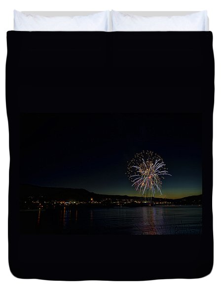 Fireworks On The River Duvet Cover