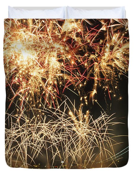 Fireworks Over Harbour Duvet Cover by Axiom Photographic