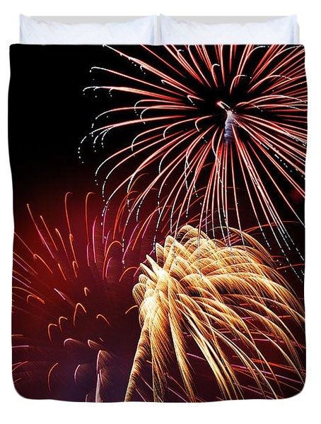 Fireworks Wixom 3 Duvet Cover by Michael Peychich