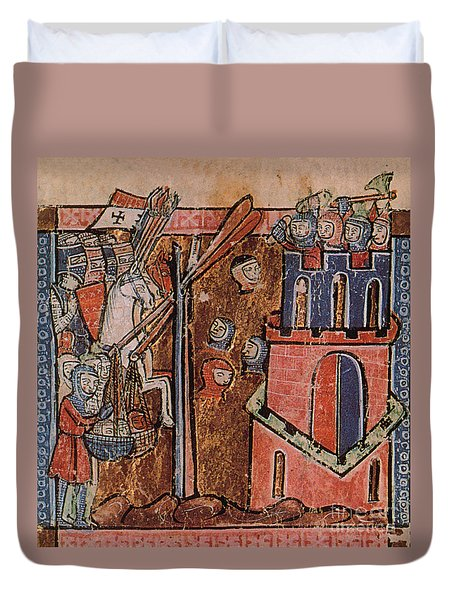 First Crusade Germ Warfare Siege Duvet Cover by Photo Researchers