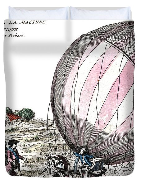 First Manned Hydrogen Balloon Flight Duvet Cover by Photo Researchers