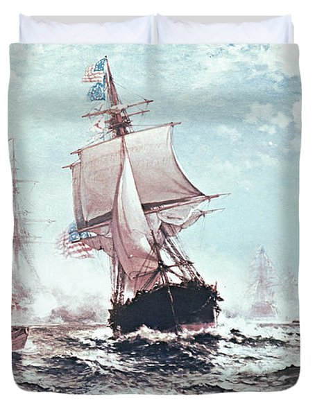 First Recognition Of The Stars And Stripes Duvet Cover by Edward Moran