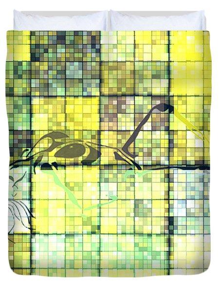 First Time Geometric Yellow Duvet Cover by Mayhem Mediums