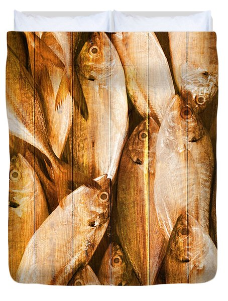 Fish Pattern On Wood Duvet Cover by Setsiri Silapasuwanchai