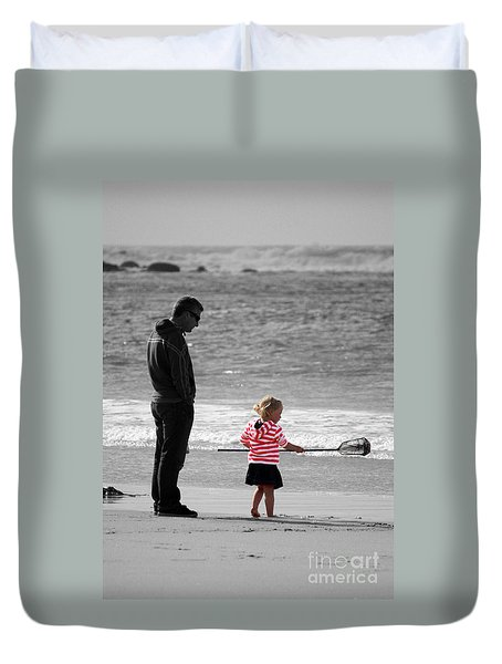 Duvet Cover featuring the photograph Fish With Me Daddy by Terri Waters