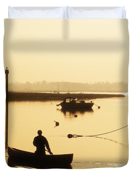 Fisherman On Lake Duvet Cover by Pixel Chimp