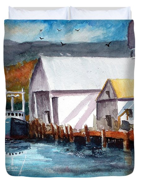 Duvet Cover featuring the painting Fishing Boat And Dock Watercolor by Chriss Pagani