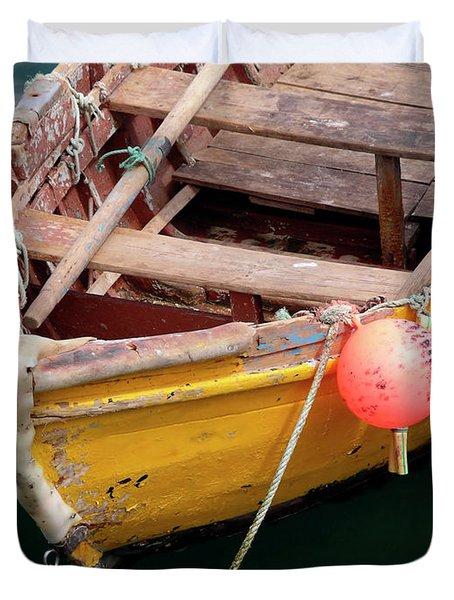 Fishing Boat Duvet Cover by Carlos Caetano