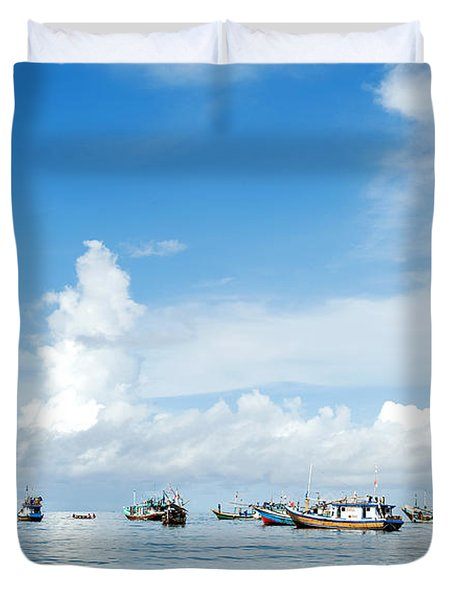 Fishing Boat Duvet Cover by Yew Kwang