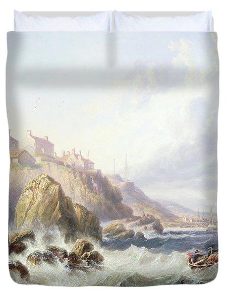 Fishing Boats Off Scotland Duvet Cover by John Wilson Carmichael