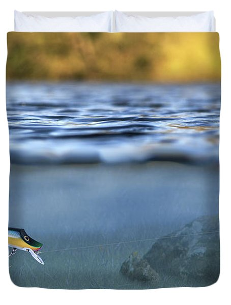 Fishing Lure In Use Duvet Cover by Meirion Matthias