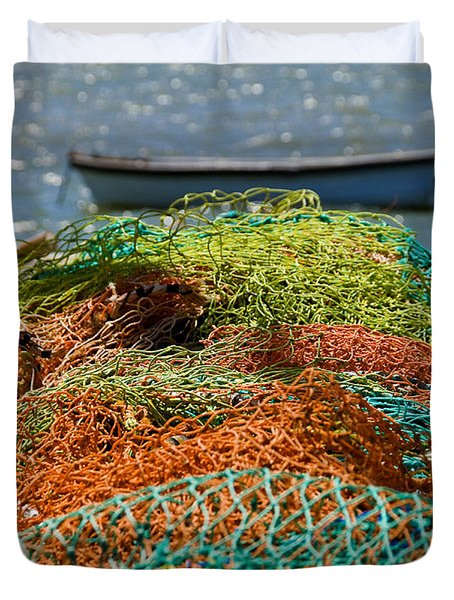 Duvet Cover featuring the photograph Fishing Nets by Trevor Chriss