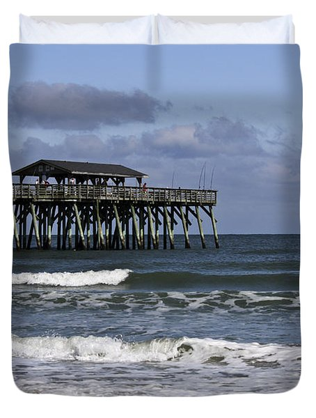 Fishing On The Pier Duvet Cover